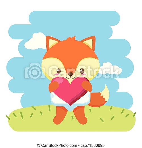 baby, schattig, weinig; niet zo(veel), vos, hart - csp71580895
