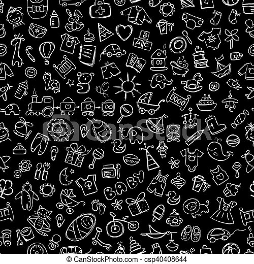 Baby seamless pattern for your design - csp40408644