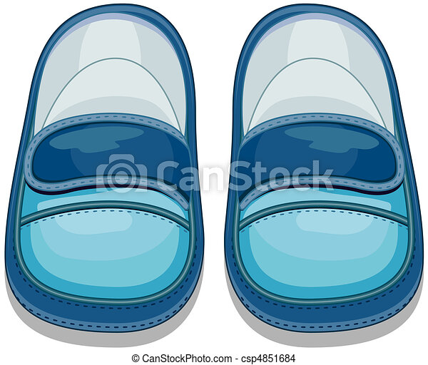 Illustration of a pair of baby shoes for boys.