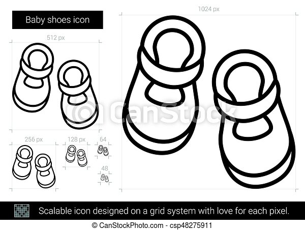 Baby Shoes Line Icon Baby Shoes Vector Line Icon Isolated On White Background Baby Shoes Line Icon For Infographic Website