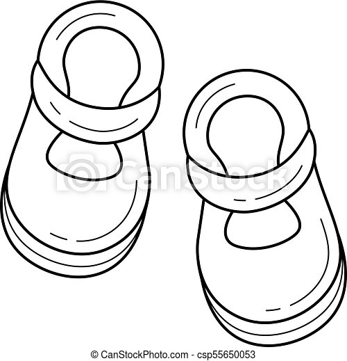 Baby Shoes Vector Line Icon Baby Shoes Line Icon Isolated On White Background Vector Line Icon Of Shoes For Baby For