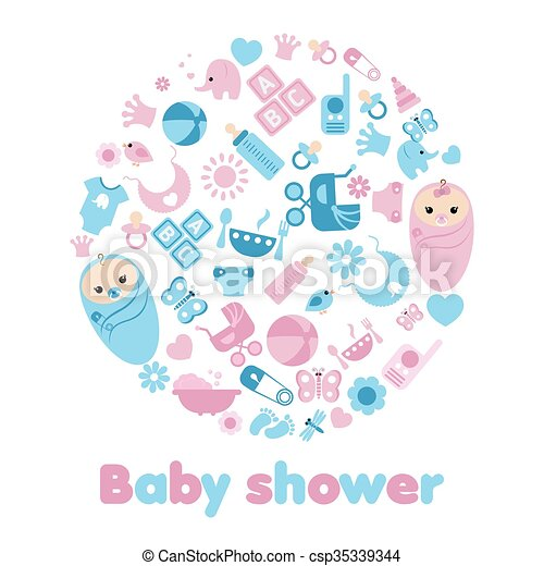 Baby Shower Background Simple Baby Symbols In The Shape Of Eps