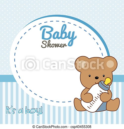 Baby Shower Boy Frame Baby Bear Vector Clipart Search