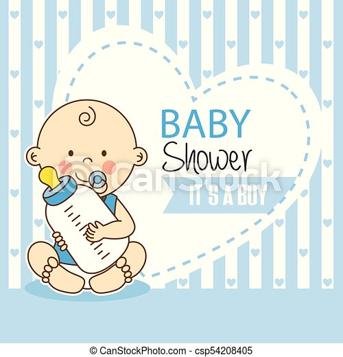 Baby Shower Boy Baby With Bottle