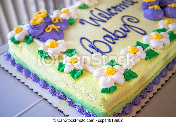 Baby Shower Cake Close Up Yellow Purple And White Baby Shower Cake