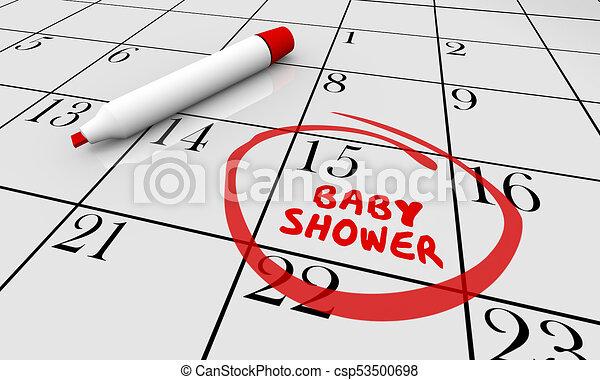 Baby Shower Calendar Date Day Reminder Party 3d Illustration