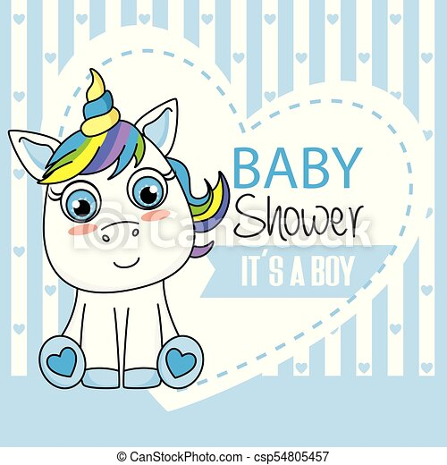 Baby Shower Card Its A Boy Unicorn With Blue Hearts Background