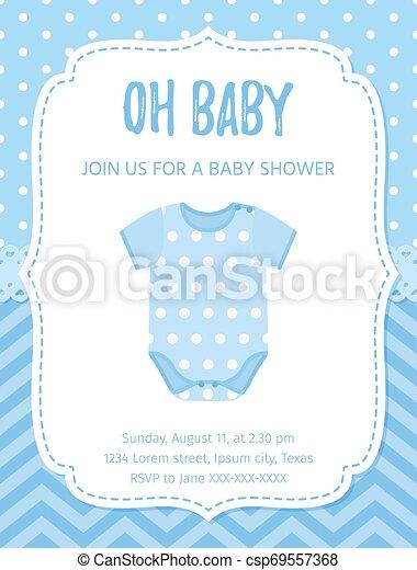 Baby Shower Card Design Vector Illustration Birthday Template Invite Baby Shower Invite Card Vector Baby Boy Blue Design
