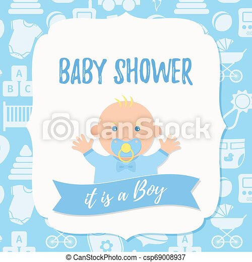 Baby Shower Card Design Vector Illustration Birthday Party Background