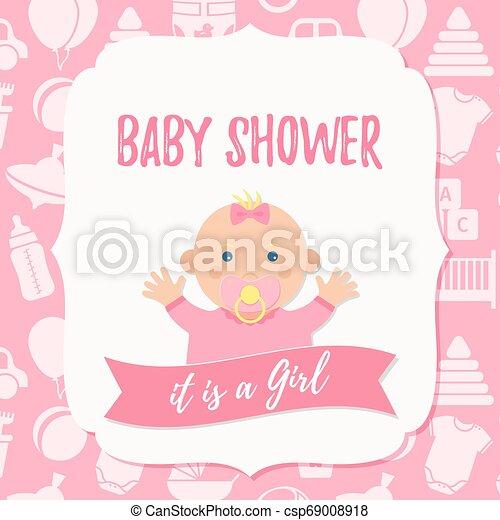 Baby Shower Card Design Vector Illustration Birthday Party Background Baby Shower Invite Card Vector Baby Girl Design