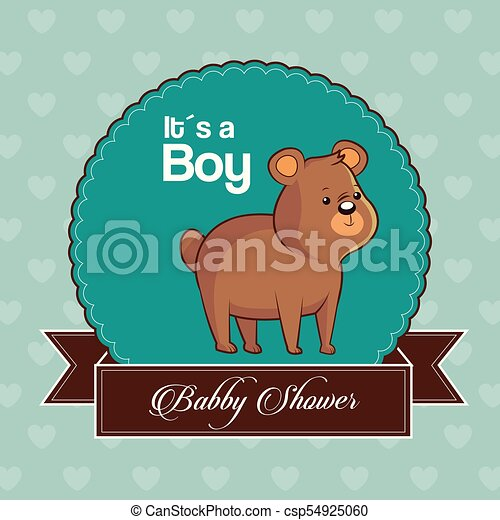 baby shower card invitation its a boy with cute bear - csp54925060