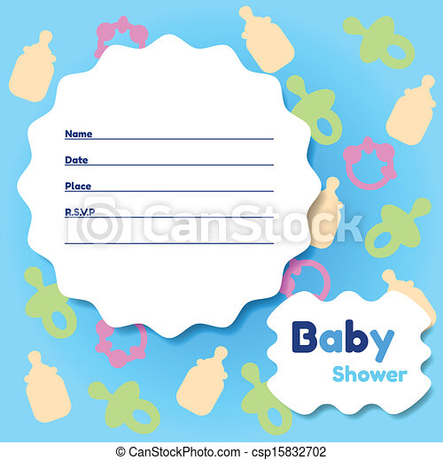 Baby Shower Card Template Stylish Baby Shower Invitation  Vector