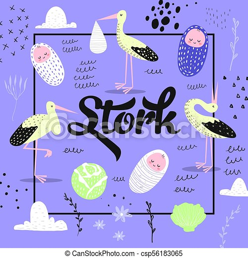 Baby Shower Card Template with Cute Stork and Newborn Child. Baby Background for Decoration, Cover, Invitation. Vector illustration - csp56183065