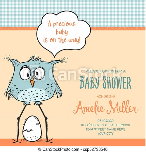 Baby Shower Card Template With Funny Doodle Bird Vector  Eps