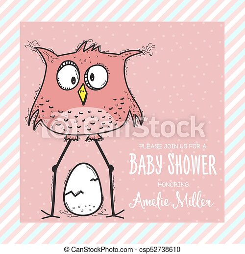 Baby Shower Card Template With Funny Doodle Bird Vector Format
