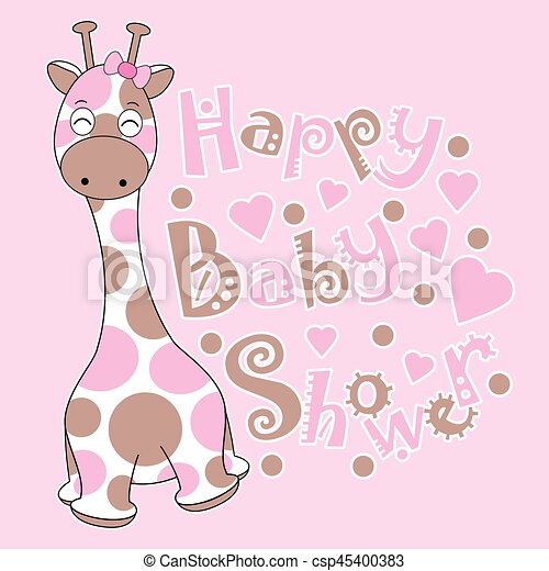 Baby Shower Card With Cute Baby Giraffe On Pink Background Suitable