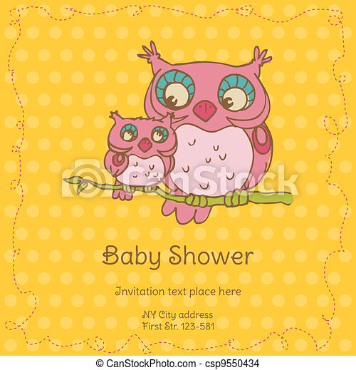 Baby Shower Card with Owls - with place for your text - in vector - csp9550434