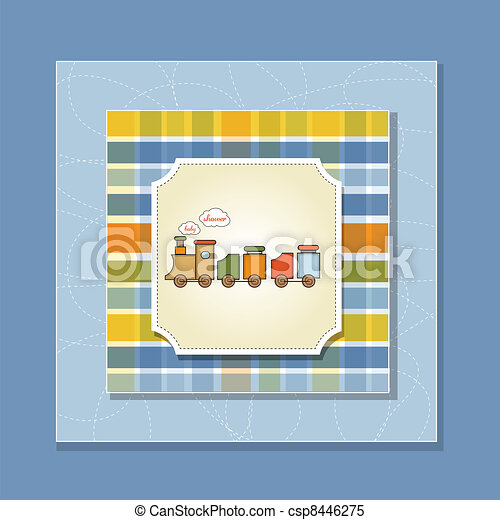 baby shower card with toy train - csp8446275