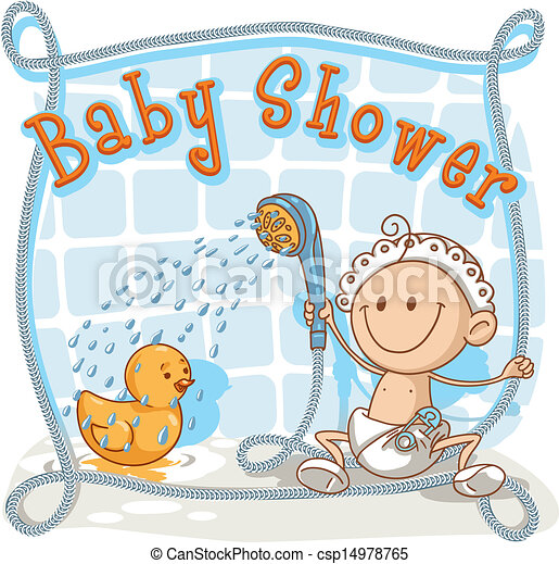 Baby Shower Cartoon Invitation   Csp14978765
