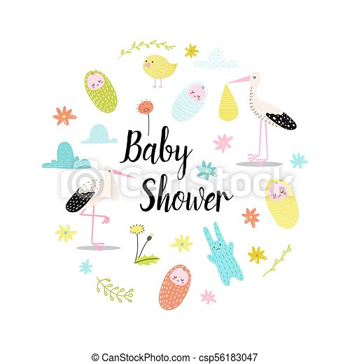 Baby Shower Celebration Invitation Card Happy Birthday Background With Newborn Child And Cute Animals Family Party Hand Drawn Decoration Vector