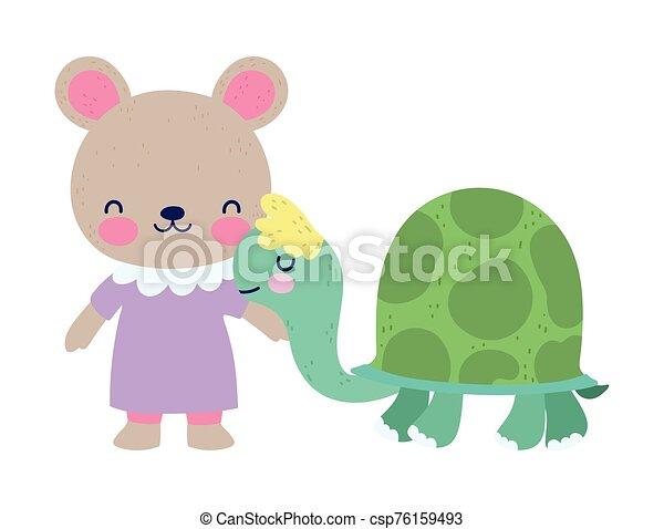 Baby Shower Cute Little Female Bear And Turtle Cartoon Vector