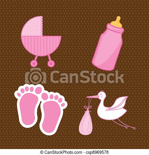 Baby Shower Elements Pink Vector Illustration