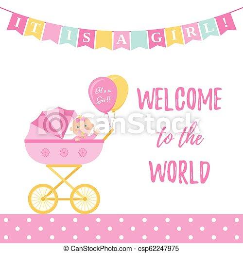 Baby Shower Girl Card Vector Illustration Pink Banner With Pram Baby Shower Girl Card Vector Cute Pink Banner With Pram