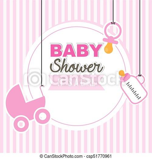 Baby Shower Girl Pink Background
