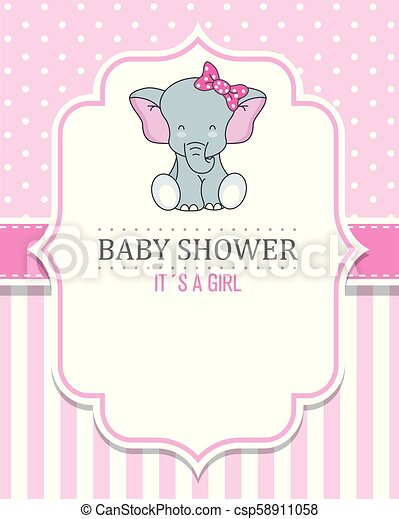 Baby Shower Girl Cute Elephant With Tie Space For Text