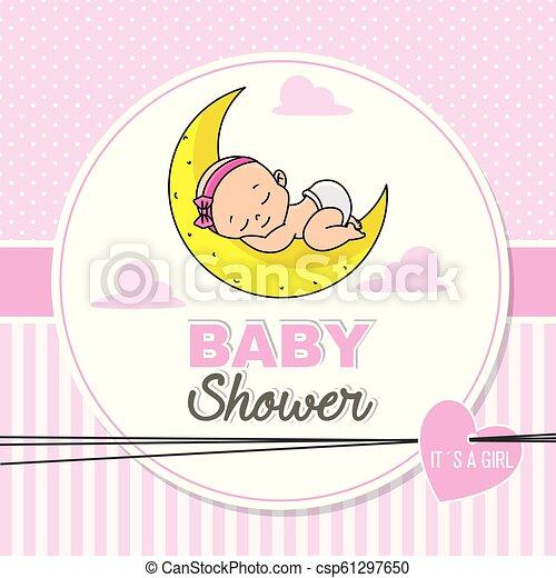 Baby Shower Girl Baby Girl Sleeping On The Moon