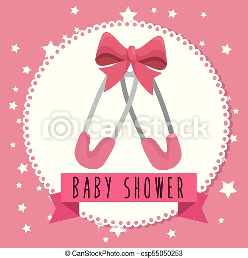 Baby shower greeting card with a baby girl clothes vector baby shower greeting card csp55050253 m4hsunfo