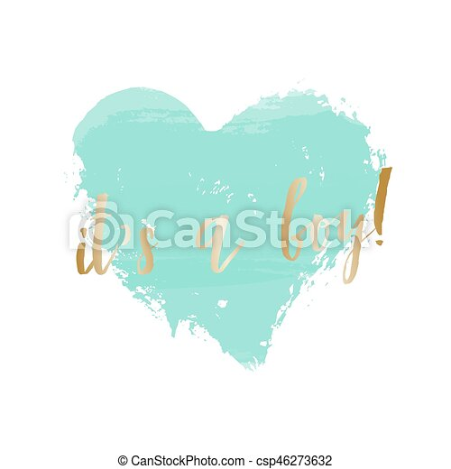 Baby Shower Greeting Card Design Baby Boy Birth Announcement Baby Shower Card Design With A Turquoise Blue Heart And Gold Canstock