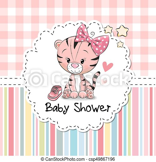 Baby shower greeting card with cute cartoon tiger girl eps vectors baby shower greeting card csp49867196 m4hsunfo