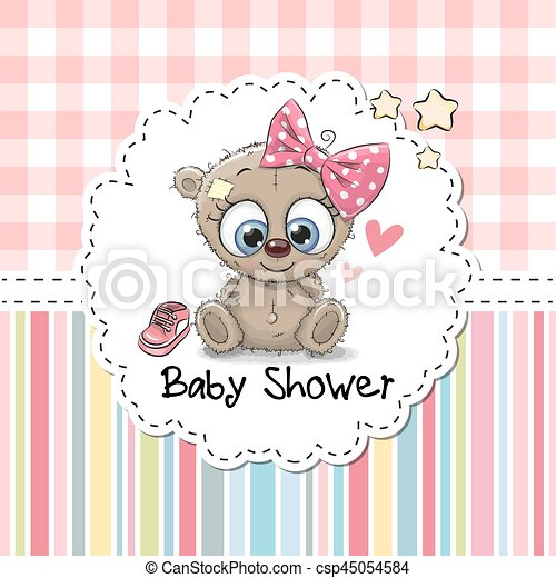 Baby shower greeting card with bear baby shower greeting card with baby shower greeting card with bear csp45054584 m4hsunfo