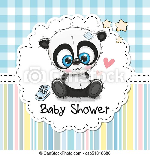 Baby Shower Greeting Card With Cartoon Panda Baby Shower Vector