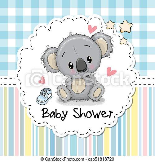 baby shower greeting card with cartoon koala csp51818720 - Baby Greeting Cards