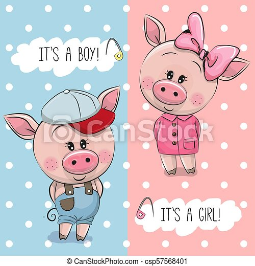 Baby shower greeting card with cute pigs boy and girl baby shower greeting card with cute pigs csp57568401 m4hsunfo