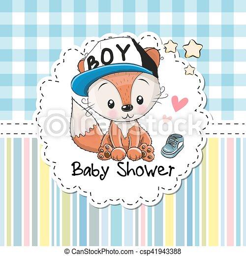 Baby shower greeting card with fox baby shower greeting card with baby shower greeting card with fox csp41943388 m4hsunfo