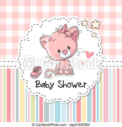 Baby shower greeting card with kitten baby shower greeting card baby shower greeting card with kitten csp41943304 m4hsunfo