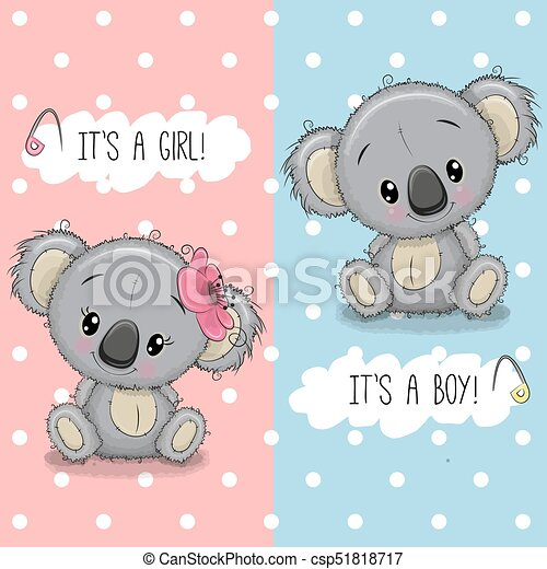 Baby shower greeting card with koalas boy and girl baby shower baby shower greeting card with koalas boy and girl csp51818717 m4hsunfo
