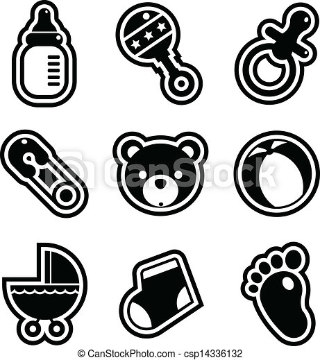 Set Of Black And White Baby Shower Icons Vectors Search Clip Art