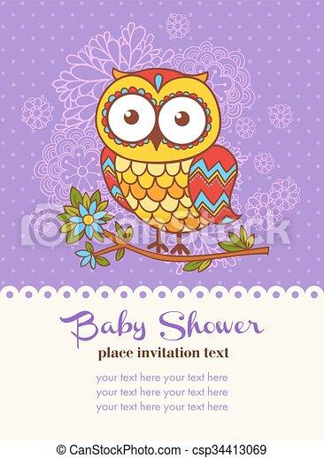 Baby shower invitation card with an owl vector illustration of an baby shower invitation card with an owl csp34413069 stopboris Choice Image