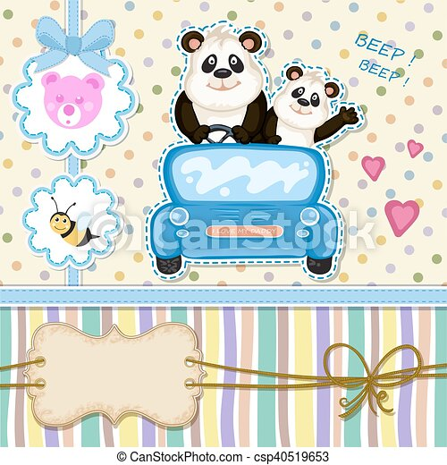 Daddy and baby panda in a blue car baby shower invitation clipart baby shower invitation csp40519653 filmwisefo