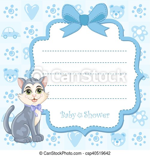 Baby shower invitation for boy with kitten eps vector search clip baby shower invitation csp40519642 stopboris Gallery