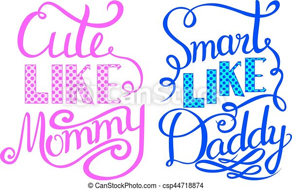 Baby shower invitation lettering cute like mommy smart vectors baby shower invitation lettering cute like mommy smart like daddy csp44718874 filmwisefo Images