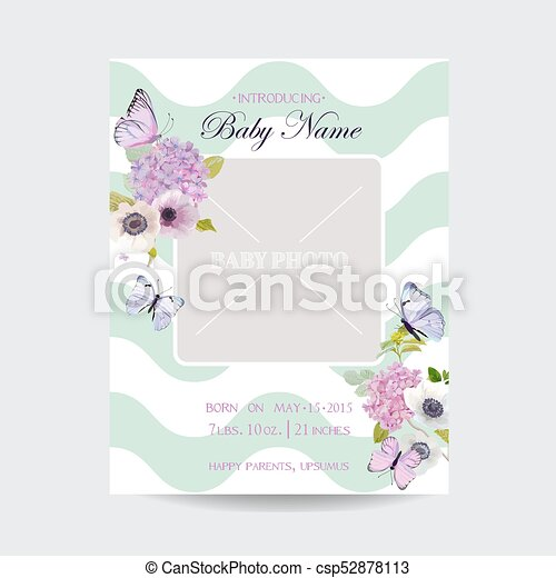 Baby shower invitation template with photo frame flowers vector baby shower invitation template with photo frame flowers and butterflies floral wedding card filmwisefo