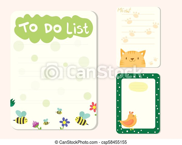 Baby Shower Invitations Cards Vector Note List Poster Greeting Template Kids Paper Layout Design Sheets Dairy Illustration