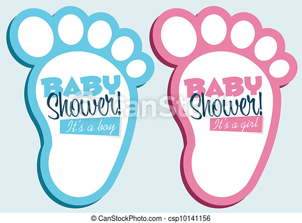Baby Shower Invitations Baby Feet Invitation Cards Clipart Vector