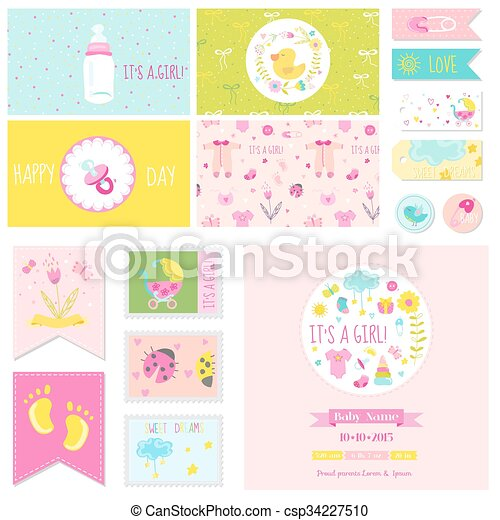 Baby Shower Little Girl Set For Party Baby Shower Scrapbook
