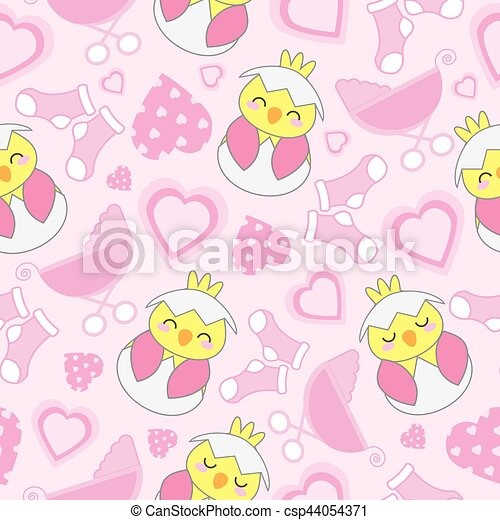 Baby Shower Seamless Background With Cute Chick Baby Cart Sock